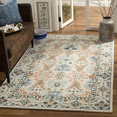 Safavieh Aspen Collection APN310A Ivory and Blue Premium Wool Area Rug 4' x 6'