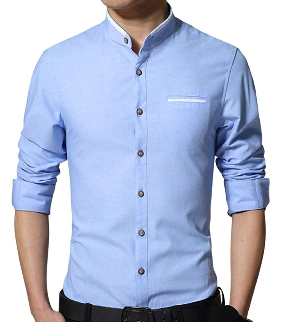M/&S/&W Mens Casual Solid Stand Collar Long Sleeve Slim Fit Button Down Shirts