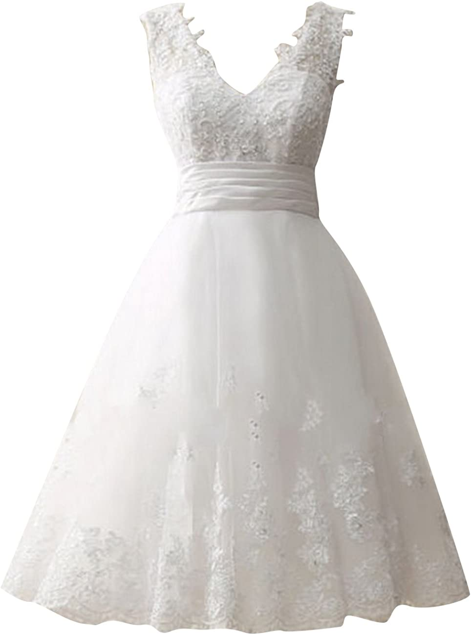 Brautkleid Kurz Hochzeitskleider Damen T/üll Spitze Brautmode V-Ausschnitt A Linie