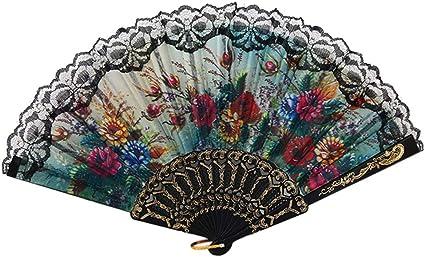 Spanish Fan Lace Trim Floral Vintage
