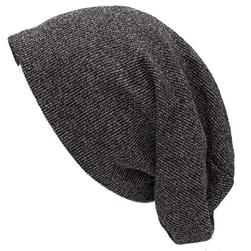 a4a91615 THE HAT DEPOT Unisex Heather Tweed/Solid Fleece Lining Slouchy Long Beanie  (Black)