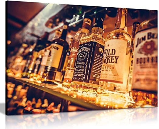 Man Cave Liquor Bottles Canvas Wall Art Picture Print 36×24