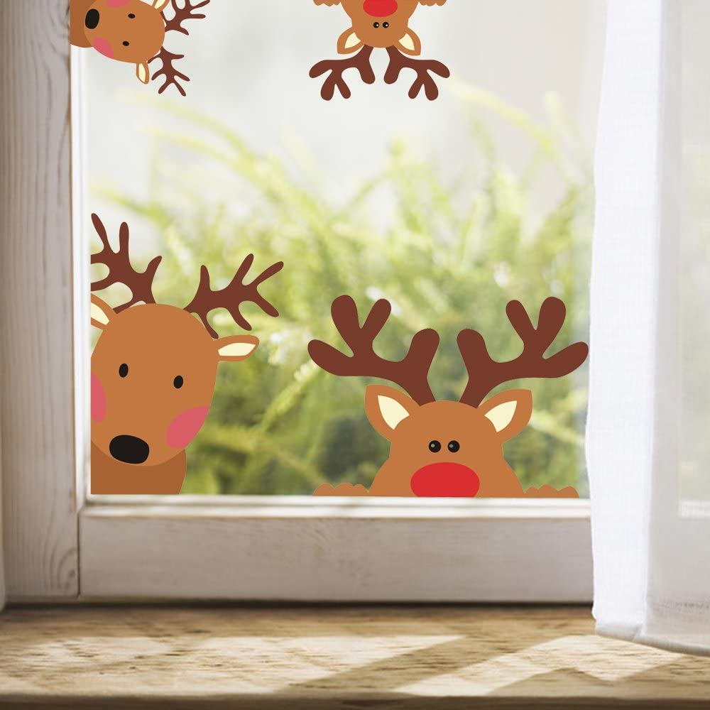 Reindeer Window Decals Nursery Wall Stickers Car Decal Home Decorations, 10 Count (Reindeer Decals)