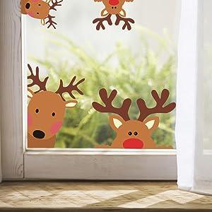 Reindeer Window Decals Nursery Wall Stickers Car Decal Home Decorations, 10 Count (Reindeer Decals)