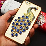 For iPhone 5 5S SE Case, iNenk Luxury Diamond Peacock Bling Case Gold Plating TPU Soft Rhinestone Phone Cover - Navy Blue