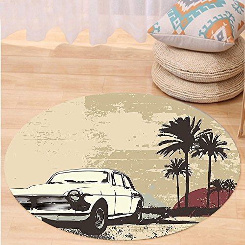 VROSELV Custom carpetVintage Old Classic American Car with Hawaiian Miami City like Retro Backdrop for Bedroom Living Room Dorm Tan Coconut Dried Rose Round 34 inches (Rattan Miami Furniture Repair)