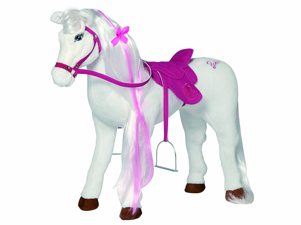 Barbie Pferd Majesty mit Sound zum Daraufsitzen, stehend, Tragkraft 100 kg, Sattelhöhe 50cm, Plüschpferd mit Geräuschen Sattelhöhe 50cm Happy People 58035 Pferde