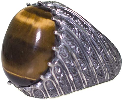 Tiger-Eye Natural Gemstone Steel Pen Craft Falcon Jewelry 925 Sterling Silver Men Ring Free Express Shipping