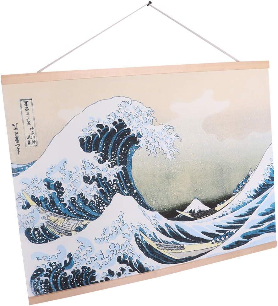 Size/_2 Fenteer Premium Japanese Hanging Scroll Wall Art Photos Wall Hanging Artwork Wooden Water Wave Art Gift