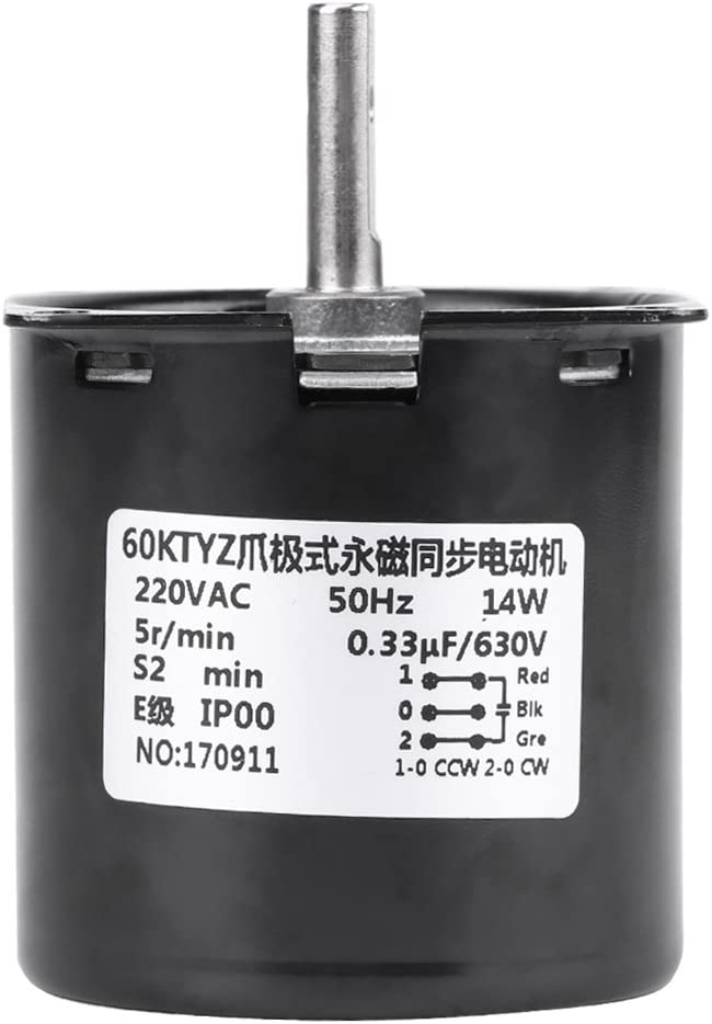 AC 220V 60KTYZ Moteur Synchrone /à Engrenages /à Aimants Permanents Electrique de la Bo/îte Variateur de Vitesse pour DIY Remplacement 5R//Min