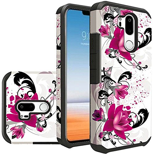 For LG G7 ThinQ Case, LG G7 Phone Rubber Case, Sturdy Durable Hybrid Dual Layer Cover (PurpleLily) (Butterfly Rubber Flower)