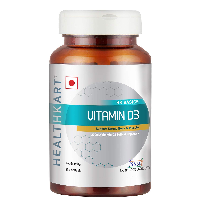 HealthKart Vitamin D3 (2000 IU), 60 softgels