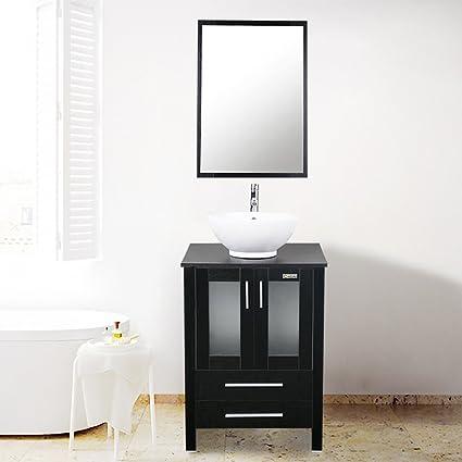 U Eway 24u0026quot; Bathroom Vanity,White Round Ceramic Vessel Sink,Bathroom  Vanity