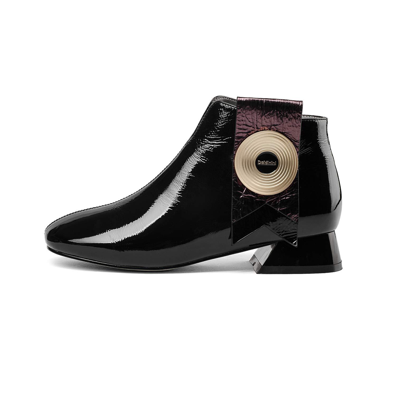 YAN Damen-KnöchelStiefel, Fashion-Leder Rough Low Heel Stiefel Metal Buckle ReißVerschluss-Stiefelies lässige Fahr Schuhe,schwarz,38