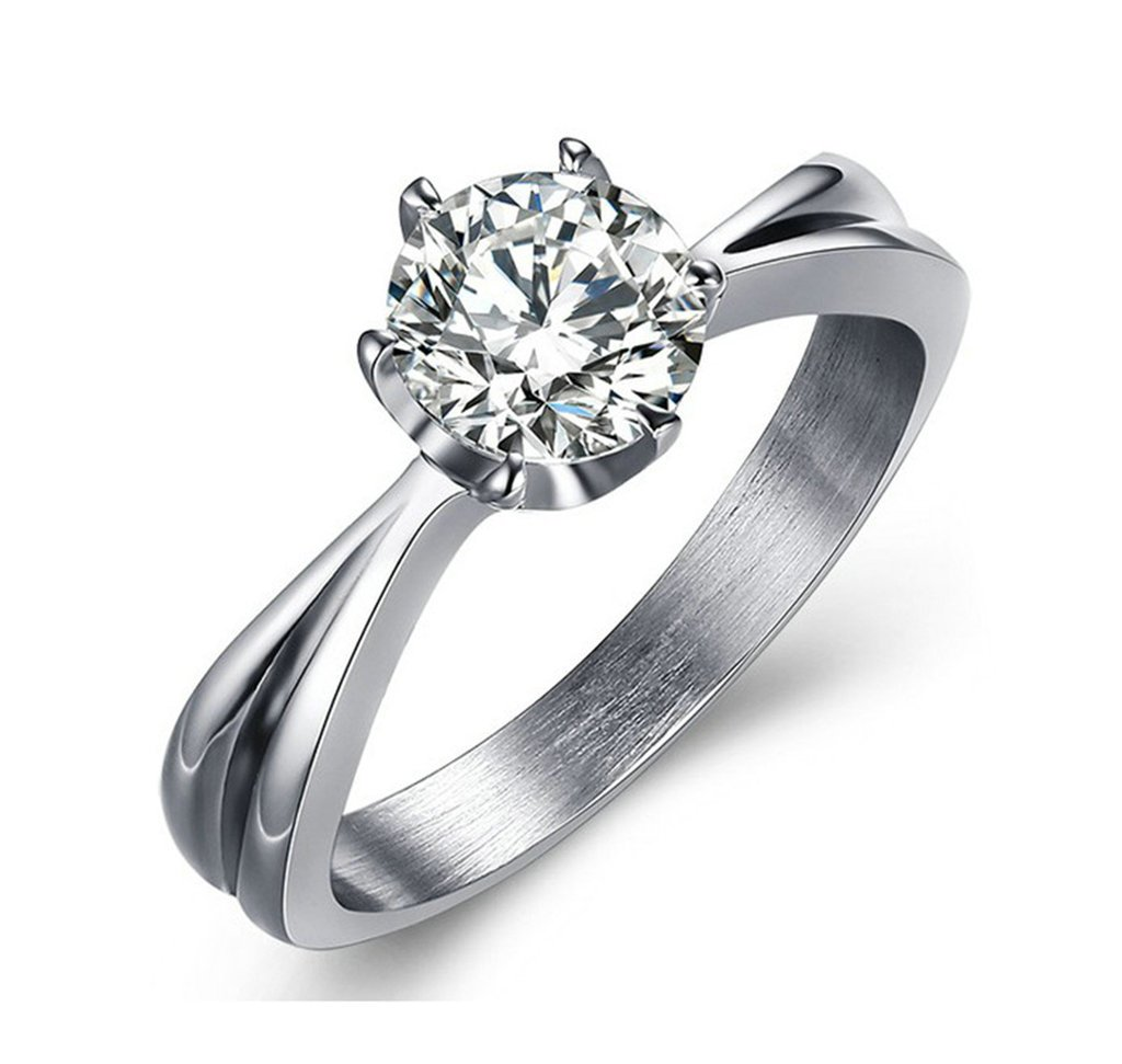 Xiangling Women's Ring 18k White Gold Plated 6 Prong Solitaire Cubic Zircon Engagement Rings Size 6