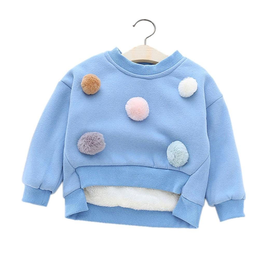 Coper Little Girls Fashion Solid Winter Warm Coat Thick Warm Clothes (5T, Blue)