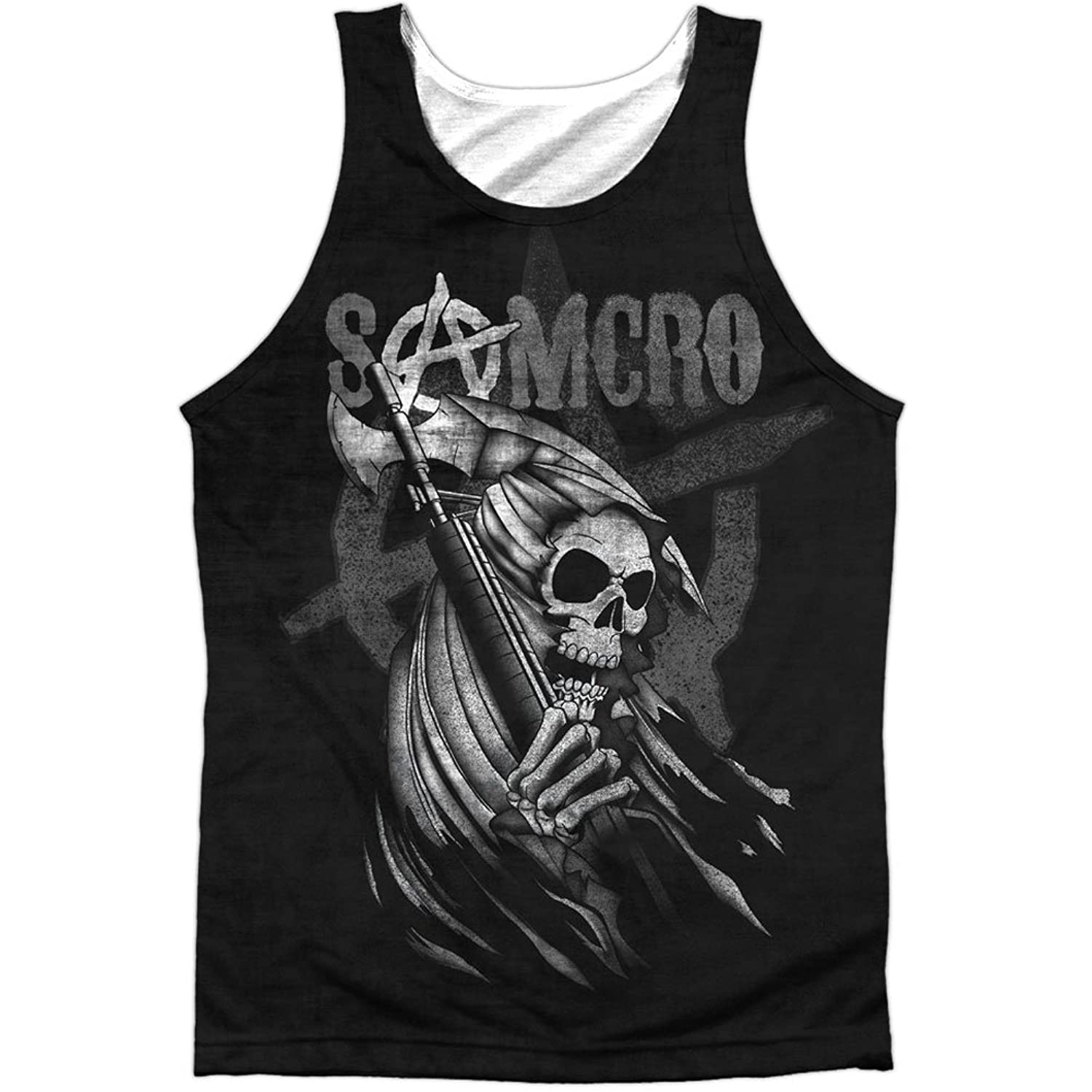 Sons Of Anarchy Drama Show Samcro Reaper Cartoon Front Print Tank Top Shirt