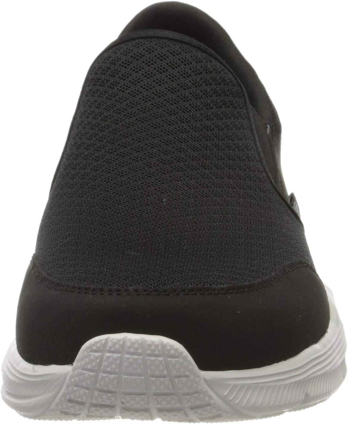 Skechers Herren Equalizer 4.0 Sneaker, Schwarz Schwarz Schwarz Mesh Pu Weiß Besatz Bkw