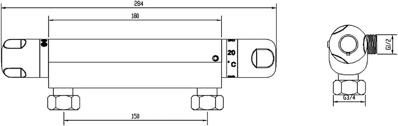 ENKI Miscelatore termostatico esterno per doccia uscita 1//2