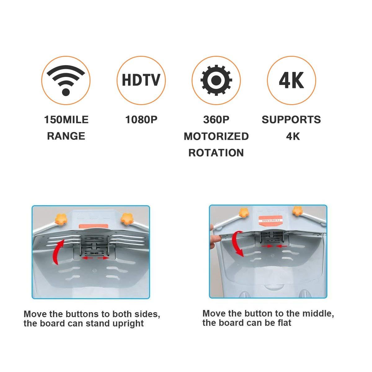 Antenna 150 Miles Range w 360 Degree Rotation Wireless Remote  UHFVHF1080p 4K ReadyWithout Pole
