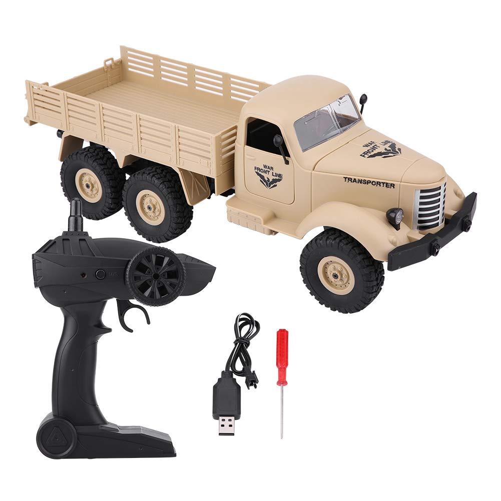 Dilwe Camion RC 1 16, Modello di Camion Militare Auto Giocattolo Telecomandata(Giallo)