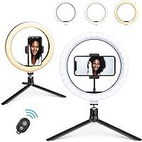 """10""""Ring Light, Beemoon Selfie Ring Light com suporte para tripé Suporte universal para telefone Controle remoto Bluetooth Potência USB para maquiagem de transmissão ao vivo YouTube TikTok"""