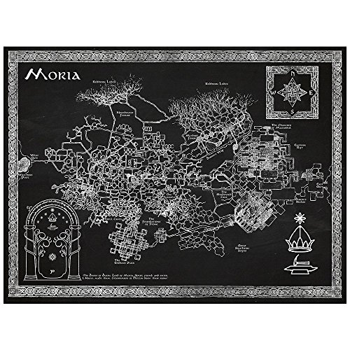 Inked and Screened Sci-Fi & Fantasy Design Art Poster, Moria Map, Chalkboard (The Hobbit Map)