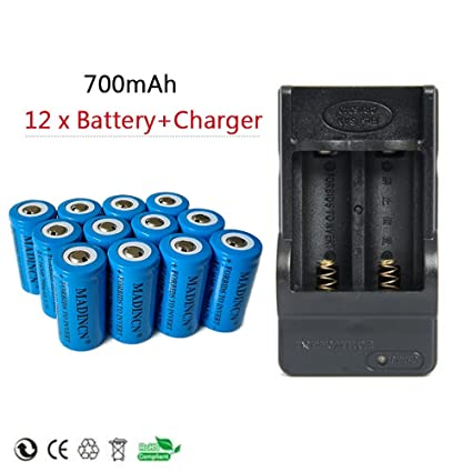 Amazon.com: NADINCN 12x 700mah 3.7v Cr123a 16340 Protected High capacity Li-ion Rechargeable Battery +2-Slots charger: Home Audio & Theater