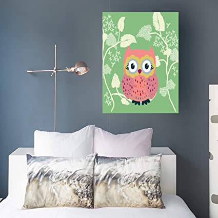 Amazon Com Yeashark Painting Canvas Wall Art Print Cute Owl Hand