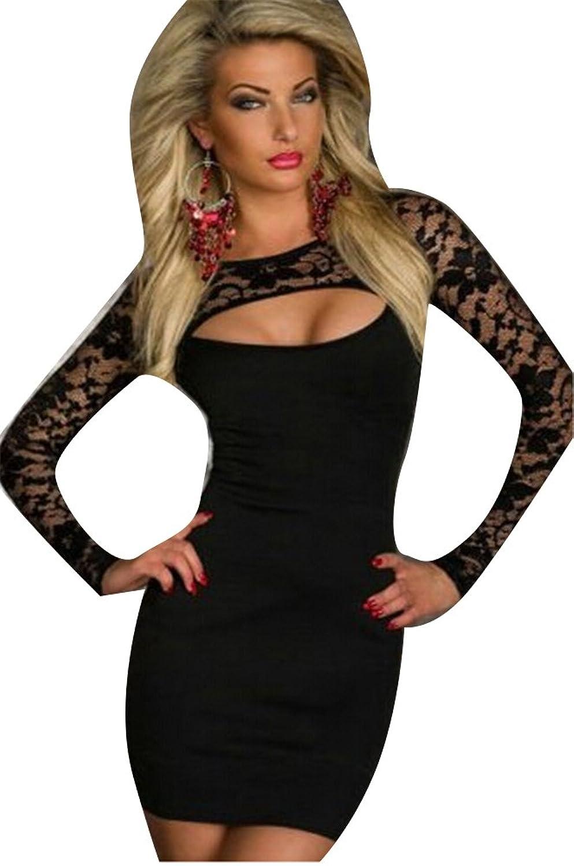 Blansdi-Langarm-Minikleid Spitze Sexy Patchwork Look Schwarz Mini-Kleid Abendkleid Partykleid Abend-Kleid Dress passt f¨¹r Gr??e schwarz