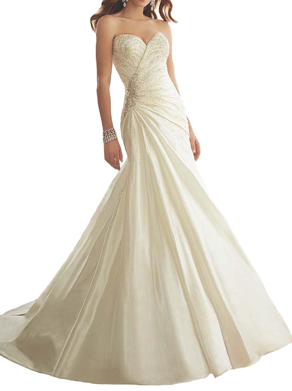 JOYNO BRIDE Women Ivory Satin Mermaid Wedding Dress long Bridesmaid Gowns
