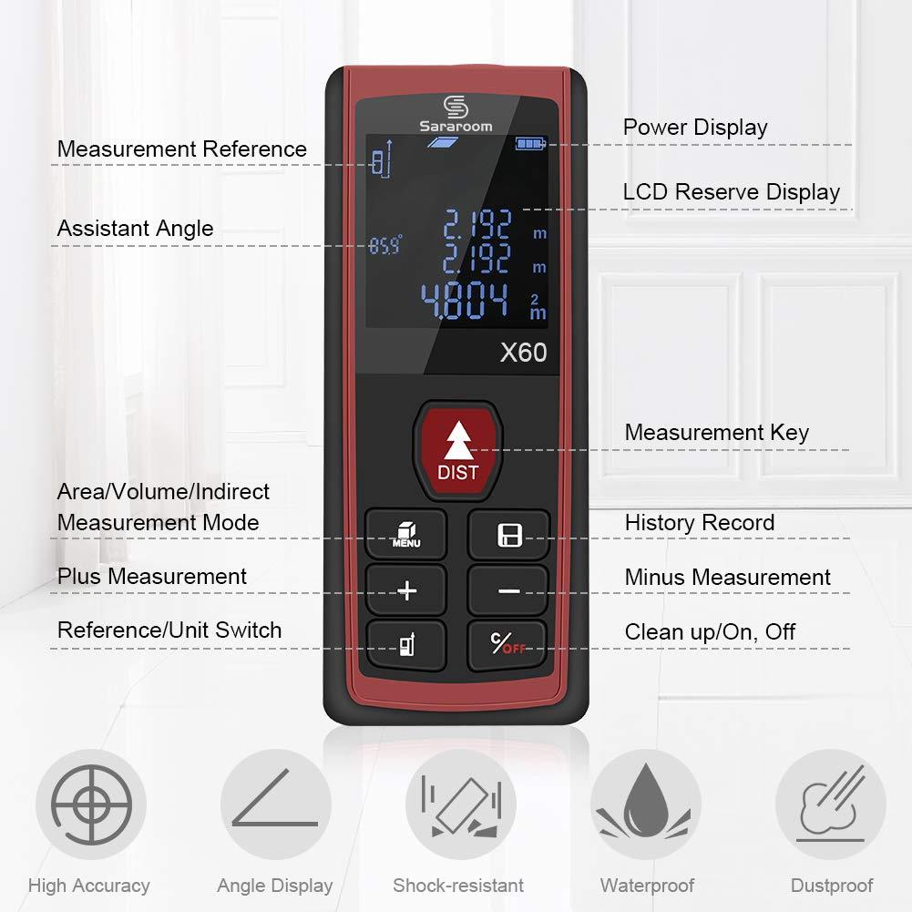Sararoom Metro Laser,HD Telemetro Distanziometro Laser Professionale Misuratore Distanza con 2 Livelli a Bolla e Display Retroilluminato (60M)