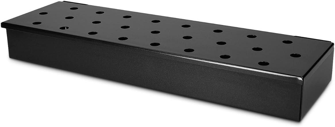 Navaris ahumador para Grill - Caja de ahumar para Gas carbón y leña - Accesorio para Barbacoa de Metal Negro - Smoker Box para Ahumado de Carne