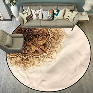 """Non-Slip Round Rugs,Henna,Ottoman Culture Elements,for Outdoor and Indoor,5'3"""""""