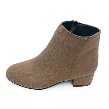 69e79939e XINANTIME - Zapatos de mujer Botas Mujer Botines para Mujer Otoño Botas de tacón  plano con cremallera