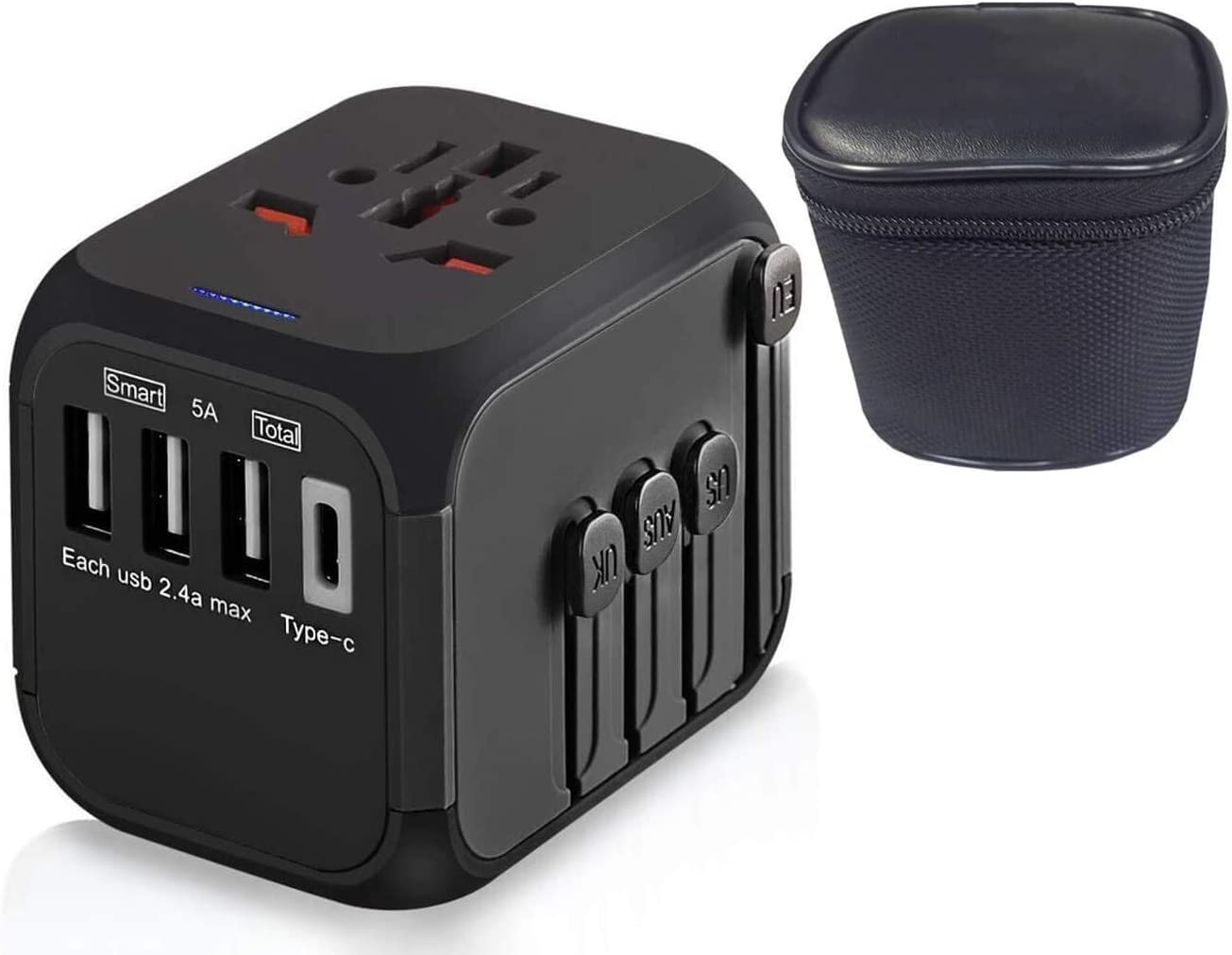 Goaycer Universal Travel Adapter: Worldwide All in One International Power Plug Adaptor with 5A High Speed USB Type C Charger Socket for UK EU USA AU Italy European