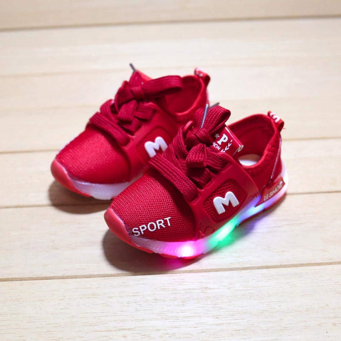 38e7eba725f54b Bébé Chaussures LED Baskets Sport,Xinantime Enfant en Bas âge Bébé Fille a  Conduit des Chaussures Légères Garçons Lumineux Sandales de Sport en Plein  Air: ...