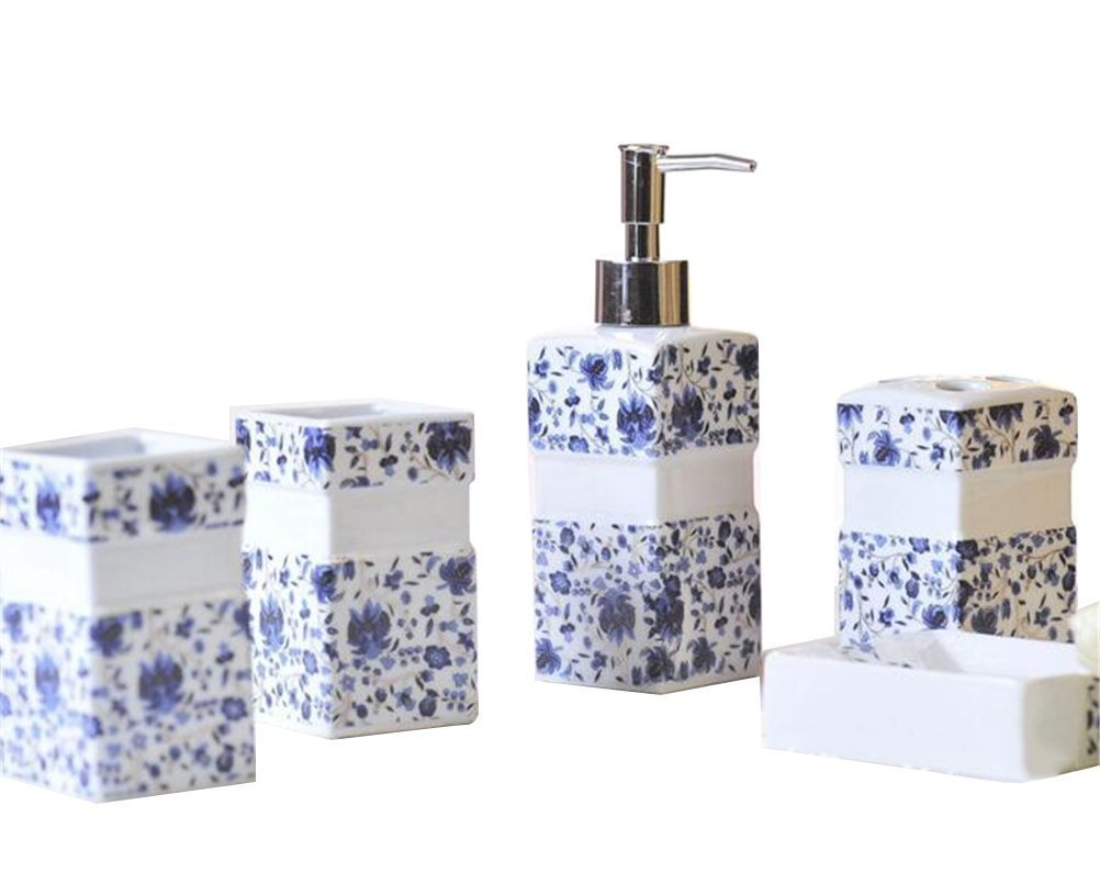 JynXos Ceramic Bathroom 5 Pieces Set Supplies Blue Rose Leaves Bathroom Accessories Set Stylish Bath Accessories Beautiful Home Gifts