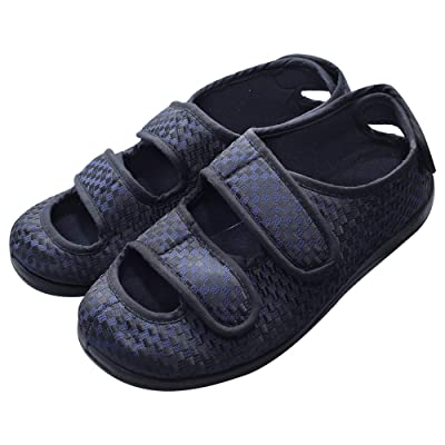 Cozy Ankle Men's Extra Wide Adjustable Diabetic Footwear Edema Slippers Indoor/Outdoor Sandals | Slippers