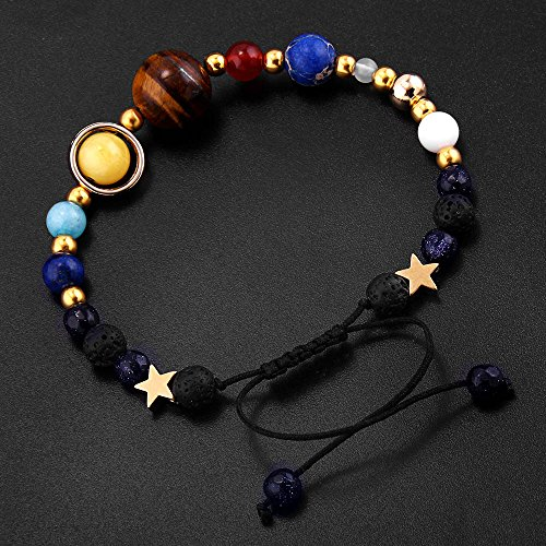 YEYULIN Handmade Galaxy Solar System Bracelet Universe Eight Planets Star Natural Stone Beads Bracelets Bangles by YEYULIN (Image #3)