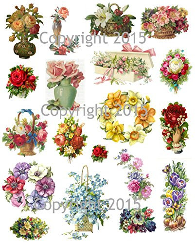 Vintage Victorian Flowers Collage Sheet #105 Art Images for Decoupage, Scrapbooking, Jewelry ()