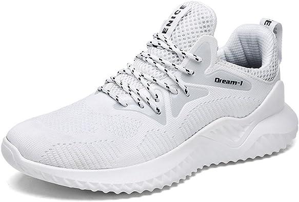 Hombre Zapatillas Deporte Zapatos para Correr Athletic Cordones Running Sports Sneakers Negro Blanco Rojo Gris Marrón 38-46 EU: Amazon.es: Zapatos y complementos