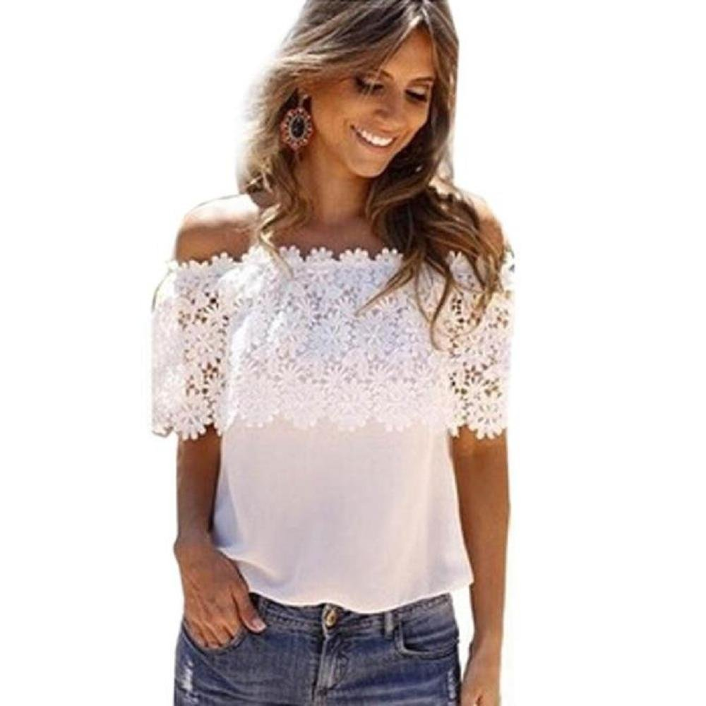 ZZpioneer Women's Summer Lace Crochet Chiffon Shirt Casual Off Shoulder Short Sleeve Tops Tees(M,White) by ZZpioneer (Image #1)