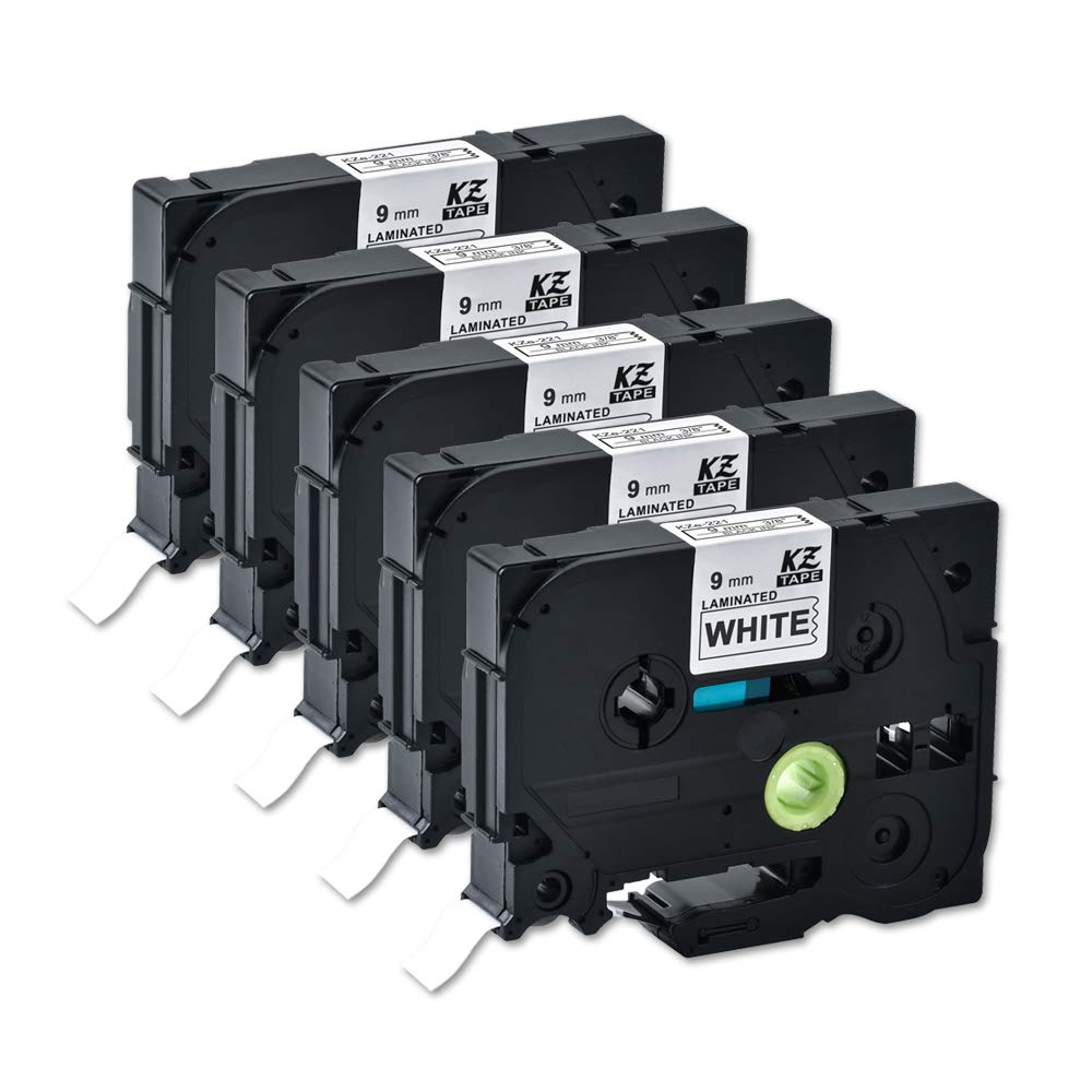 9mm//8m 10PK Compatible for Brother Tze221 0.35 Inches 26.2feet p-Touch Laminated Black on White Standard Replace Waterproof Label Tape Maker PT-H110//PT-D200//PT-D210//PT-D400//PT-D600//PT-1280//PT-1290