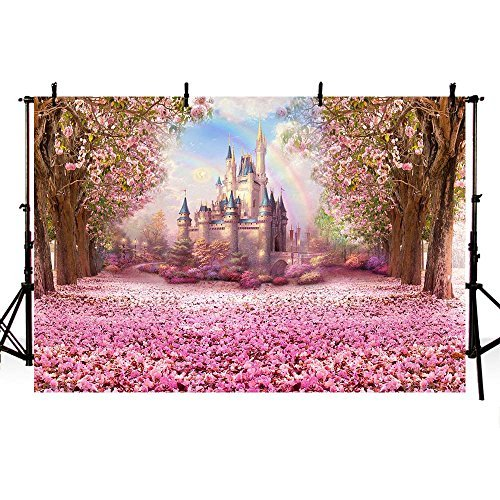 COMOPHOTO Castle Fairy Tale Backdrops for Photography Baby Birthday Party Photo Backdrops Kid Pink Flower Background Pictures Seamless Vinyl Cloth 7x5ft ()