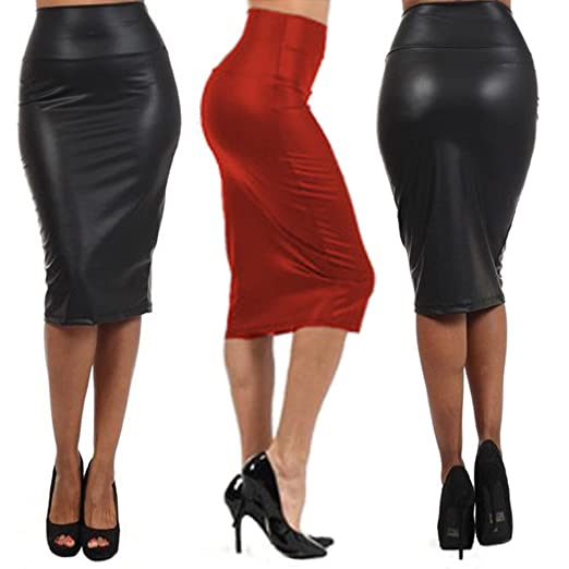 ae3d74fb7b Misscat Women Leather Stretch High Waist Pencil Midi Skirt Bodycon Short  Dress at Amazon Women's Clothing store: