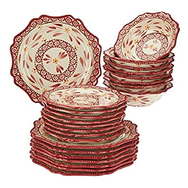 Temp-tations Old World 24-piece Dinnerware Service for 8 (Cranberry)