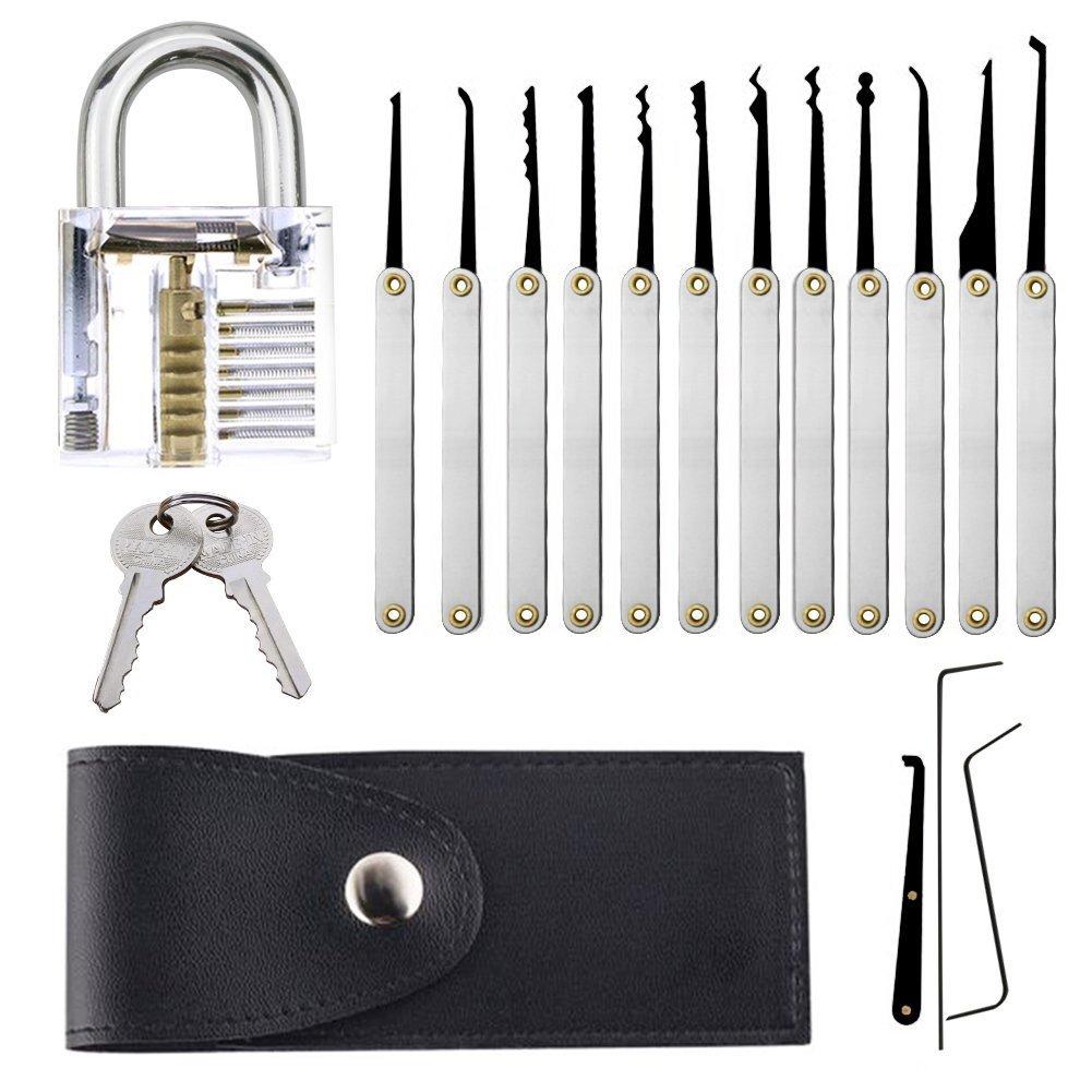Juego de Ganz/úas para Principiantes,AZX Lock Picking Set con una Cerradura de Entrenamiento
