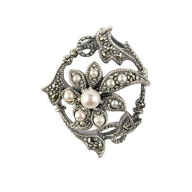 Esse Marcasite Sterling Silver Black Gemset Fancy Flower & Garlands Round Marcasite Brooch 3.5cm QaOkOBFDf