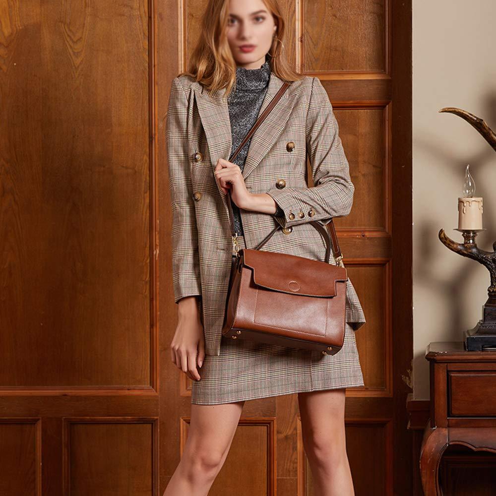 GAOQQ Womens Soft Cowhide Skin Leather Tote Bag Durable Vintage Style Large Purse//Work Handbags Zipper Closure,Black